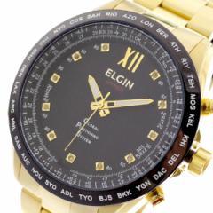 レビューで次回2000円オフ 直送 エルジン ELGIN 腕時計 メンズ GPS2002GB-11D GPS衛星電波時計 クォーツ ブラック ゴールド