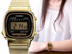 返品可 レビューで次回2000円オフ 直送 カシオ CASIO デジタル レディース 腕時計 LA670WGA-1UWD ブラック/ゴールド