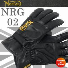 NORTON ノートン グローブ NRG02 羊革・裏起毛 秋・冬向け バイク用レザーグローブ 防寒用