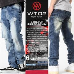 wt02 new york ジーンズ メンズ ダメージ デニム メンズ デニムパンツ メンズ アメカジ 大きいサイズ メンズ