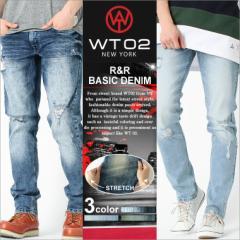 wt02 ジーンズ メンズ ダメージ スキニー メンズ デニム ダメージデニム 大きいサイズ メンズ