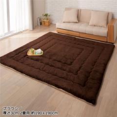 ふっかふかラグマット 単品 〔厚さ3cm 1畳用 約90×180cm〕 床暖可 ブラウン