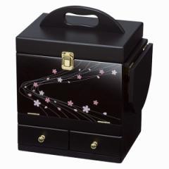 蒔絵調コスメボックス/メイクボックス 〔ブラック〕 幅26cm 持ち手/ミニテーブル/三面鏡付き
