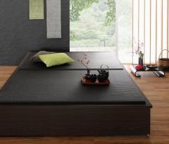 美草・日本製 小上がりにもなるモダンデザイン畳収納ベッド 〔花水木〕ハナミズキ ダブル 〔畳色〕ブラック