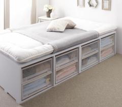 収納ベッド 〔Semper〕 〔薄型スタンダードボンネルコイルマットレス付き〕 引き出しなし ハイタイプ セミダブル ホワイト