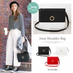 ショルダーバッグ クラッチ ゴールドリング 合皮 スクエア 2way シンプル 小さめ コンパクト 収納 かばん 鞄 レディース
