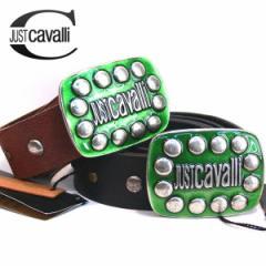 レザーベルト 皮ベルト JUSTCAVALLI イタリア製 インポート 楕円ロゴスタッズ入り革ベルト 牛革 本革  (2色) 送料無料