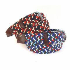 メッシュベルト フリーサイズ ミックス編みベルト デカサイズ 大きいサイズ 四角バックル 本革 レザー   メンズ レディース (全2色)