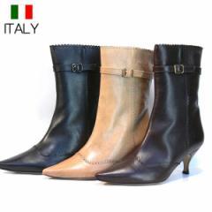 ショートブーツ 本革 レディース 黒 ヒール  牛革 インポート ポインテッドトゥ イタリア製 DEL BRENTA デルブレンタ(3色)