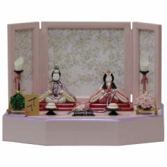 雛人形 アウトレット品 平飾り木目込み親王 さくらさくら2号C-128 幅45cm  3mk39 一秀 ピンクのお雛様 雛祭り