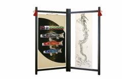 [徳永][鯉のぼり]室内用[室内飾り鯉のぼり]衝立飾り・壁掛け飾り[鯉3匹][吉兆][飛龍吹流し]五角形飾り台なし[日本の伝統文化][こいのぼり