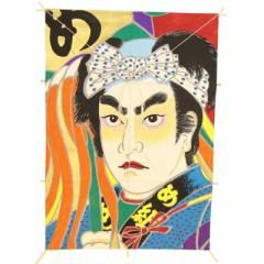インテリア 手描き【和凧】角小凧 縦47×横33cm【ワ-7ハ】歌舞伎絵 火消しめ組 お正月飾り