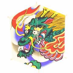 インテリア 手描き【和凧】六角凧 縦60×横48cm【ロ-16ヘ】錦絵 龍神 お正月飾り