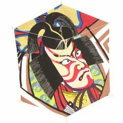 インテリア 手描き【和凧】六角凧 縦60×横48cm【ロ-16ト】歌舞伎絵 暫 お正月飾り