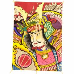 インテリア 手描き【和凧】特大角凧 縦67×横47cm【ワ-5ネ】武者絵 お正月飾り