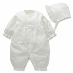 フード付きスムースセレモニードレス(花レース)【新生児50-60cm】[日本製][新生児][西松屋]