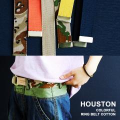 (ヒューストン) HOUSTON リングベルト コットン 本革 ミリタリー カジュアル サイズ調整 アウトドア