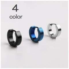 ピアス メンズ 円形 バックル メッキ ステンレス鋼 チタンピアス カラー ホワイト ブラック シルバー ゴ