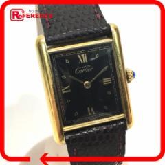 あす着 CARTIER カルティエ レディース 腕時計 ヴェルメイユ タンク 腕時計 SV925/レザー ゴールド