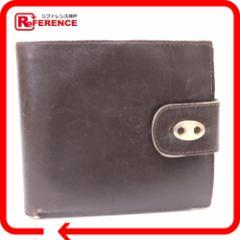 あす着 CELINE セリーヌ がま口財布 二つ折り財布(小銭入れあり) レザー ブラウン コインケース