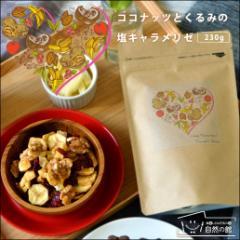 送料無料 ココナッツとくるみの塩キャラメリゼ 230g ミックスナッツ&ドライフルーツ  アーモンド ダイエット