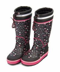 レインブーツ 長靴 女の子 キッズ 子供靴 ドローコード 反射材 防水 ノースウィング NORTH WING 137001 ブラック