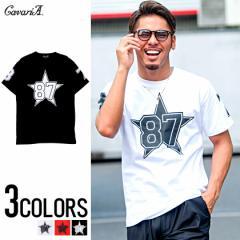 CavariA キャバリア ビッグスター ナンバー プリント クルーネック 半袖 Tシャツ 全3色 メンズ ナンバリング スター 星柄 ビター系