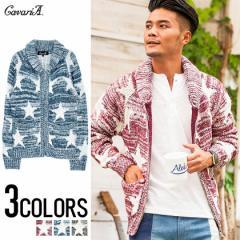 CavariA キャバリア 星柄 ニット カウチン 全3色 メンズ ジャケット セーター スター プリント 厚手 ローゲージ ジップ BITTER系 kkp