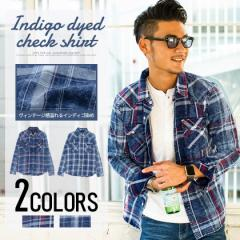 CavariA キャバリア インディゴ染め チェック柄 長袖 シャツ 全2色 チェックシャツ メンズ ネルシャツ 青 赤 春 M L ビター trend_d ggp