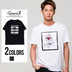CavariA キャバリア シースルー バラ柄 クルーネック 半袖 Tシャツ 全2色 即日配送 メンズ クロス 十字架 ホワイト ブラック M L