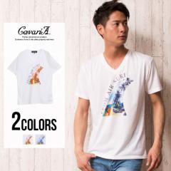 CavariA キャバリア サーフボード プリント Vネック 半袖 Tシャツ 全2色 即日配送 メンズ おしゃれ グラフィック M L 300423