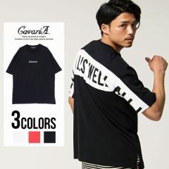 CavariA キャバリア バックプリント クルーネック 半袖 Tシャツ 全3色 即日配送 メンズ ストリート オーバーサイズ 大きめ M L 300423