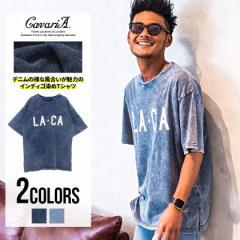 CavariA キャバリア カットデニム ビッグシルエット クルーネック 半袖 Tシャツ 全2色 メンズ オーバーサイズ ドロップショルダー M L