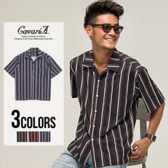 CavariA キャバリア マルチストライプ柄 オープンカラ— 半袖 シャツ 全3色 即日配送 メンズ アロハシャツ 柄シャツ トップス 春 夏