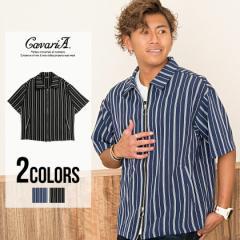 CavariA キャバリア ストライプ柄 半袖 ドリズラー ジャケット 全2色 即日発送 メンズ シャツジャケット 夏 ジップアップ ダブルジップ