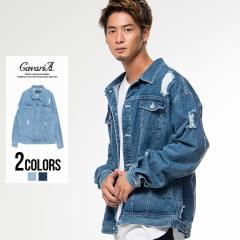 CavariA キャバリア ダメージ加工 ビッグシルエット デニムジャケット 全2色 即日発送 メンズ Gジャン オーバーサイズ 大きめ ダメージ