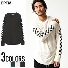 EPTM. イーピーティーエム Racing L s Long Tee 全3色 ロング丈 Tシャツ トップス 長袖 ロンT チェッカーフラッグ メンズ ビター系