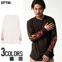 EPTM. イーピーティーエム Flame L s Long Tee 全3色 ロング丈 Tシャツ トップス 長袖 ロンT ファイヤー柄 炎 メンズ ビター系
