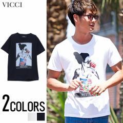 VICCI ビッチ ガールズフォト プリント クルーネック 半袖 Tシャツ 全2色ツ メンズ 半袖 星条旗柄 BITTER系 ビター系 trend_d 夏 新作
