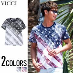 VICCI ビッチ 星条旗柄 プリント クルーネック 半袖 Tシャツ 全2色 メンズ 半袖 アメリカ 国旗 プリント サーフ ビター系 trend_d 夏