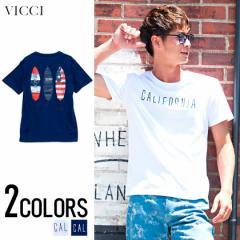 先行予約商品 7月下旬から順次発送予定 VICCI ビッチ サーフボード プリント クルーネック 半袖 Tシャツ 全2色 メンズ スター柄 星条旗