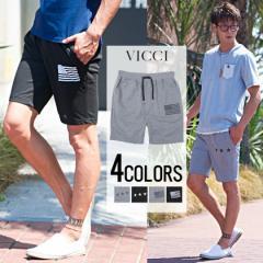 VICCI ビッチ 裏毛 スウェット ショーツ 全4色 ショートパンツ メンズ 膝上 ハーフパンツ 星条旗 スター 星柄 サーフ SURF ビター系