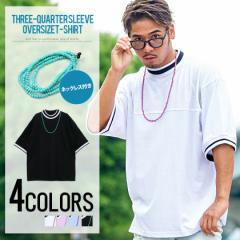 VICCI ビッチ ネックレス付き ラインリブ ビッグシルエット クルーネック 半袖 Tシャツ 全4色 メンズ ドロップショルダー 大きめ