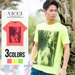 VICCI ビッチ ガールズフォト プリント クルーネック 半袖 Tシャツ 全3色 即日配送 メンズ 無地 蛍光 ネオンカラー M L イエロー ピンク