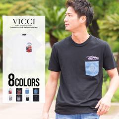 VICCI ビッチ ポケット付き クルーネック 半袖 Tシャツ 全8色 即日配送 メンズ ポケT シンプル カジュアル 柄ポケット サーフ ブラック