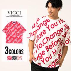 VICCI ビッチ メッセージ プリント ビッグシルエット クルーネック 半袖 Tシャツ 全3色 即日配送 メンズ カットソー  英字 総柄 大きめ