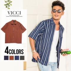 VICCI ビッチ マルチ ストライプ柄 ジップアップ 5分袖 シャツ 全4色 即日配送 メンズ 半袖 羽織 5分袖 ストライプ 春夏 BITTER
