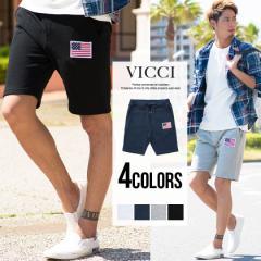VICCI ビッチ 星条旗 ワッペン付き 裏毛 スウェット ショーツ 全4色 即日配送 ショートパンツ メンズ ハーフパンツ 膝上 短パン 半ズボン