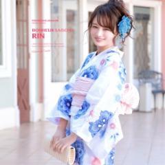 【bonheur saisonsの浴衣3点セット】白/ホワイト/藍色/ネイビー/菊/桜/綿/ラメ/ボヌールセゾン