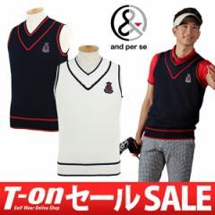 【30%OFFセール】アンパスィ and per se ニットベスト ゴルフウェア メンズ